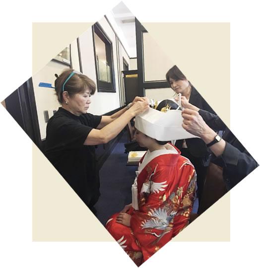 東京学士会館 和装結婚式にて出張日本髪ヘアメイク